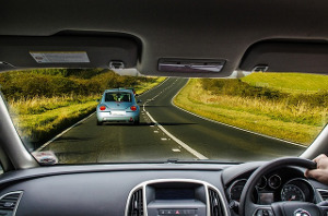 drivers view of road
