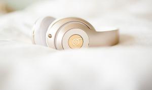 headphones on bed