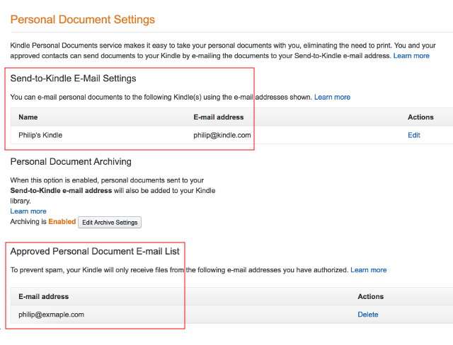 Amazon Personal Document Settings