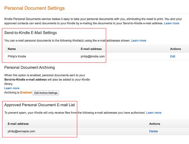 Amazon Personal Document Settings