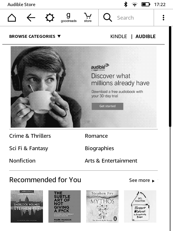 Kindle Audible tab