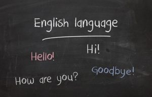 Blackboard with simple English phrases